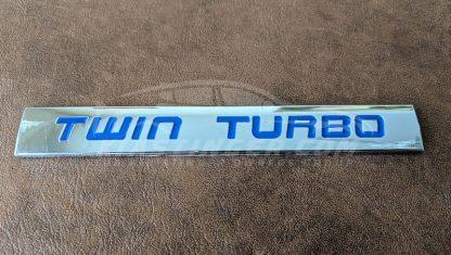 twin turbo badge in blue